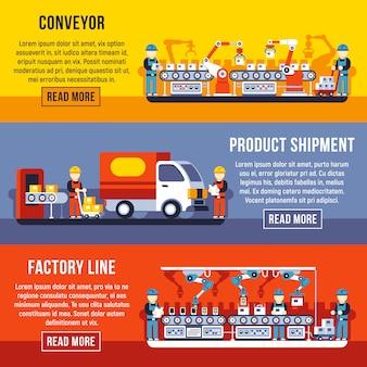 Linea di fabbrica di trasportatore di automazione con set di banner orizzontale mani robotiche.