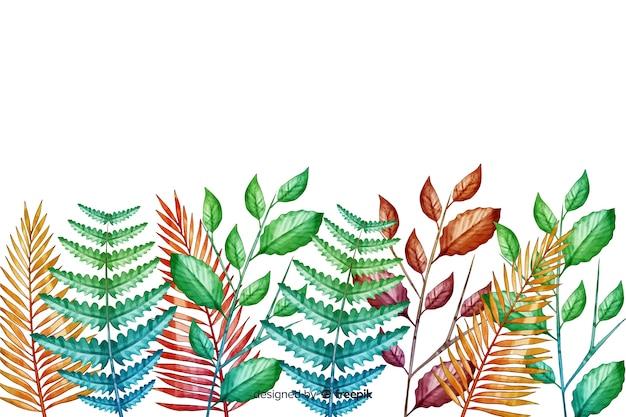 Linea di foglie verdi disegnata a mano