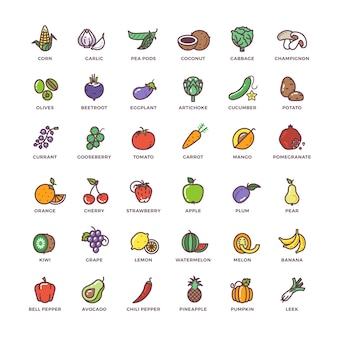 Linea di frutta e verdura icone vettoriali con elementi piatti