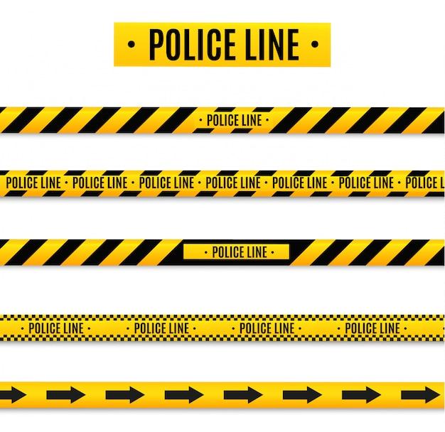 Linea di isolamento isolata dalla polizia. nastri di avvertimento realistici. segni di pericolo
