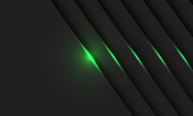 Linea di luce verde astratta ombra sulla moderna tecnologia futuristica design grigio.