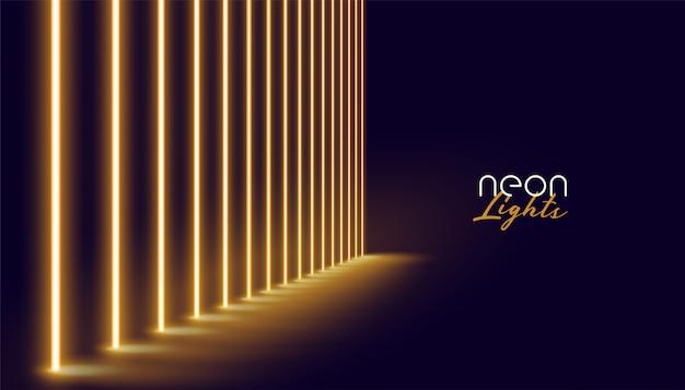 Linea di luci al neon dorate incandescente