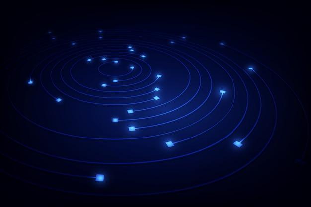 Linea di movimento dell'anello del cerchio della rete a catena del blocco nel concetto della luce blu,