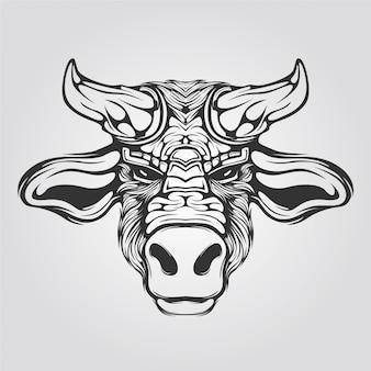 Linea di mucca arte in bianco e nero