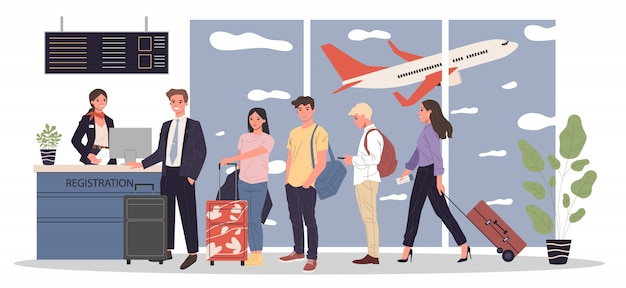 Linea di passeggeri al banco di registrazione dell'aeroporto