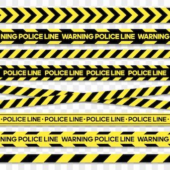 Linea di polizia e nastro di pericolo. nastro di attenzione