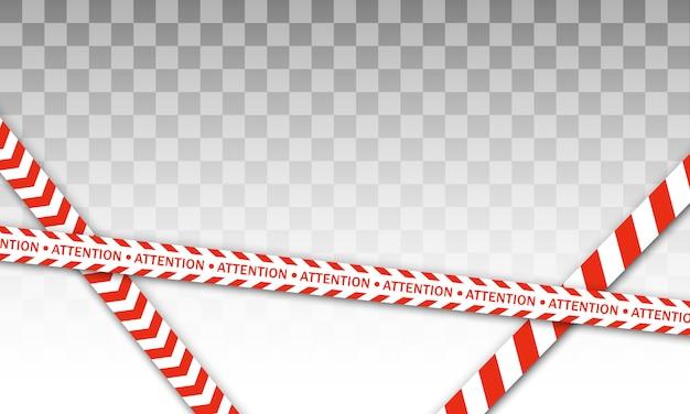 Linea di polizia rossa nastro di avvertimento, pericolo, nastro di avvertenza. barricata rossa e bianca. segni di pericolo.