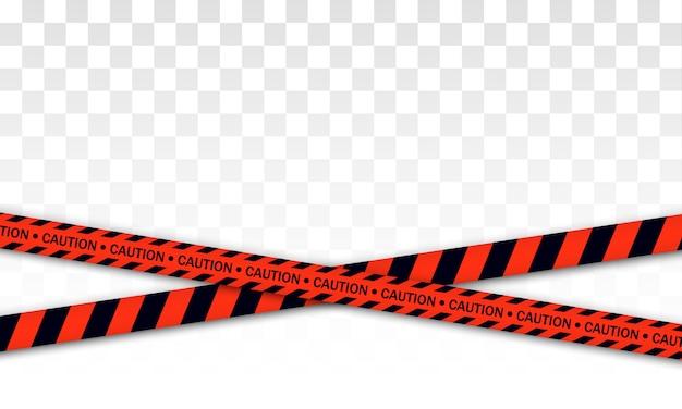 Linea di polizia rossa nastro di avvertimento, pericolo, nastro di avvertenza. covid-19, quarantena, stop, non attraversare, confine chiuso. barricata rossa e nera. zona di quarantena dovuta a coronavirus. segni di pericolo. .
