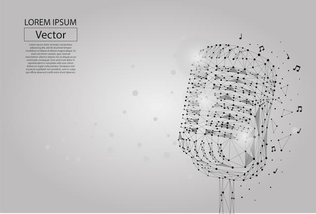 Linea di poltiglia astratta e immagine punto di un microfono
