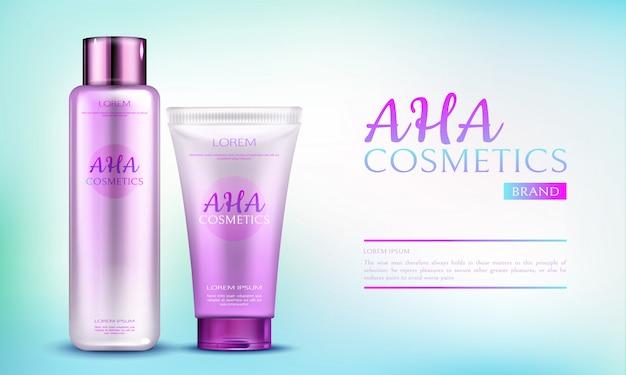 Linea di prodotti cosmetici aha per la cura del corpo su sfondo blu sfumato.