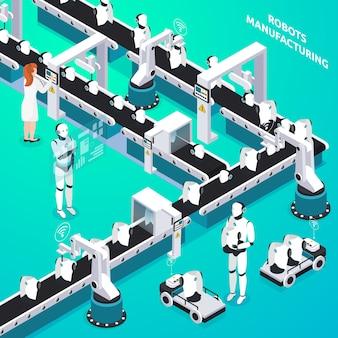 Linea di produzione automatizzata di robot domestici con operatori donna e umanoidi che controllano la composizione isometrica del processo