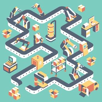 Linea di produzione automatizzata in fabbrica piatta isometrica