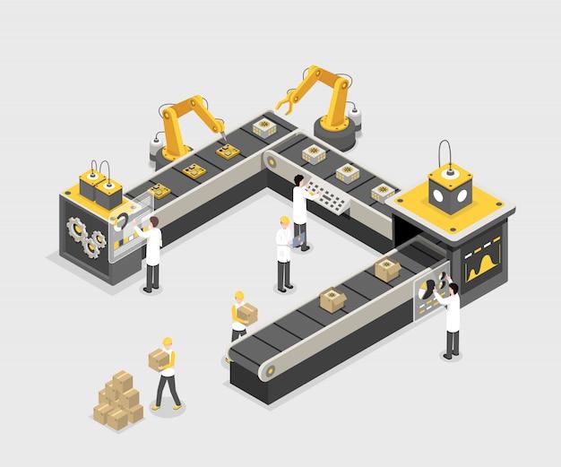 Linea di produzione autonoma e programmata con i lavoratori. fabbrica moderna, processo produttivo industriale