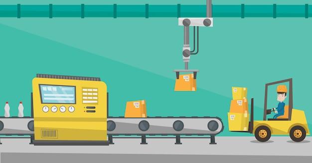 Linea di produzione di imballaggi robotizzati.