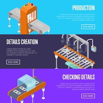 Linea di produzione isometrica 3d banner web set