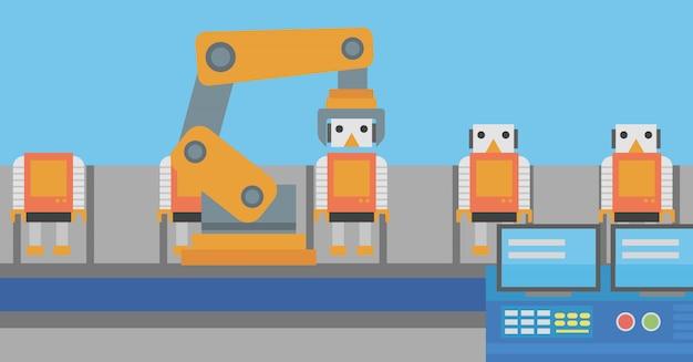 Linea di produzione robotizzata per assemblaggio di giocattoli.