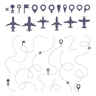 Linea di rotta piana. gli aerei tracciano le indicazioni della traccia della linea, il costruttore della mappa di direzione del percorso di volo e le icone dell'aeroplano messe