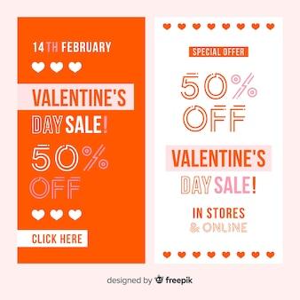 Linea di san valentino vendita banner di cuori