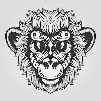 Linea di scimmie in bianco e nero con grandi occhi