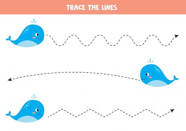 Linea di traccia con balena blu. pratica della scrittura a mano per bambini.