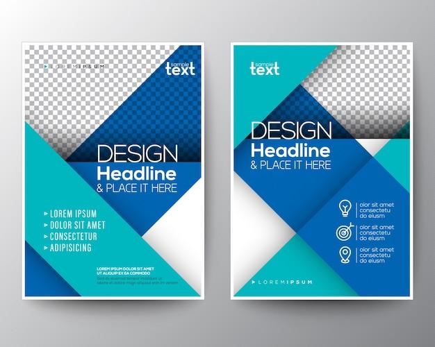 Linea diagonale blu rapporto annuale brochure copertina flyer poster design modello di layout