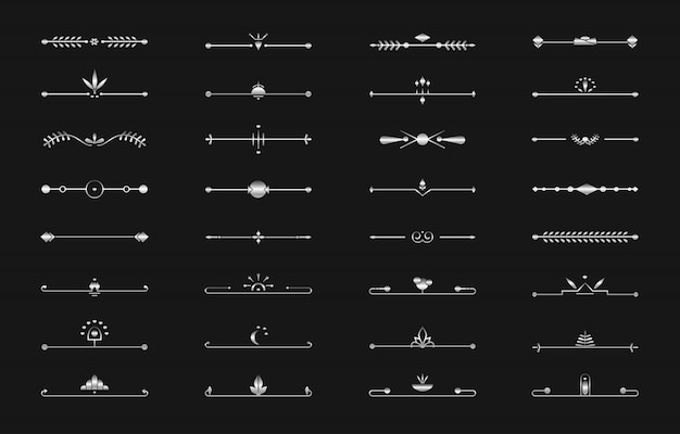 Linea divisoria argento set testo vettoriale pagina art deco