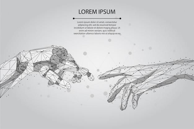 Linea e punto astratti di poltiglia mani poli e basse del wireframe dell'essere umano e del robot che toccano con le dita.