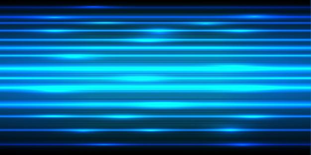 Linea elettrica blu luce velocità veloce su sfondo nero.