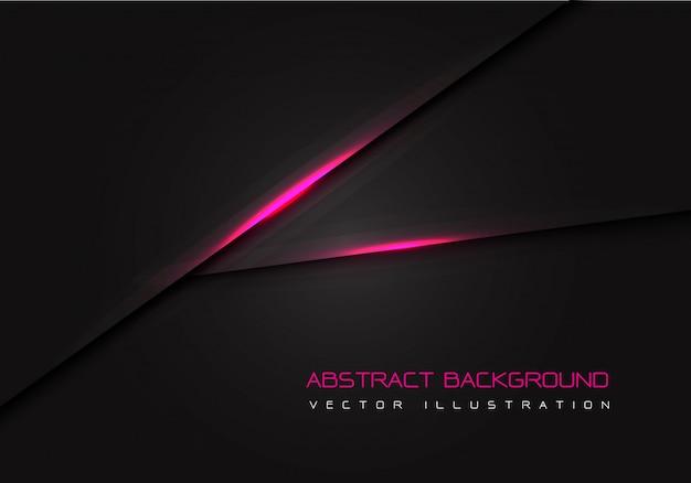 Linea elettrica della luce rosa su fondo nero.