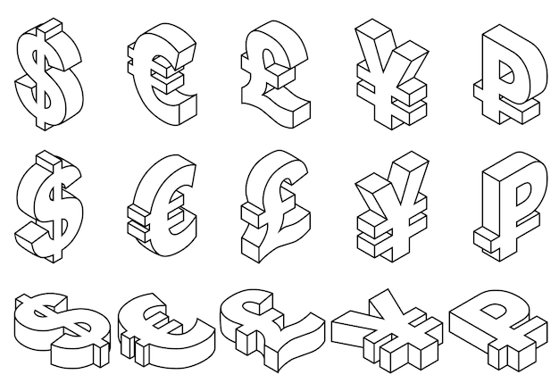 Linea icone charset valute mondiali.