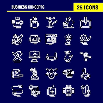 Linea icone di concetti di affari