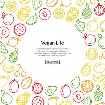 Linea icone di frutti con illustrazione di copyspace