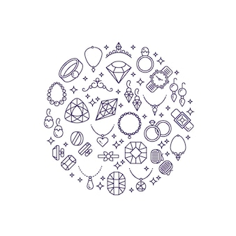 Linea icone di gioielli e pietre preziose vettoriale. concetto di lusso per gioielleria