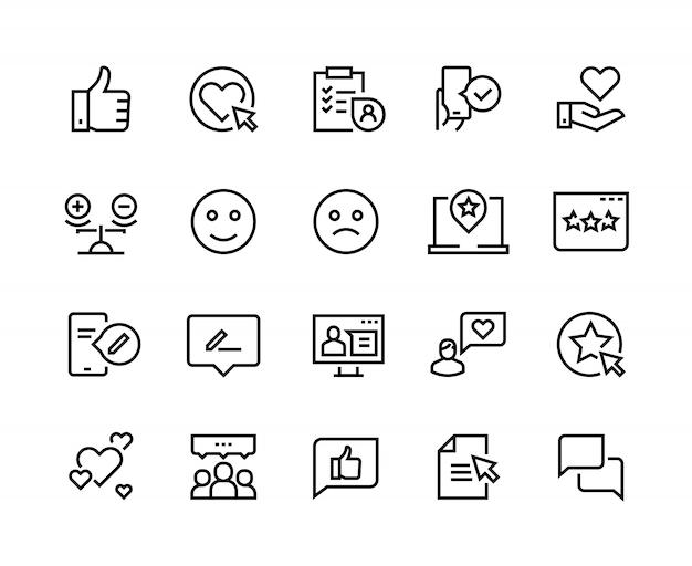 Linea icone di testimonianze. il servizio clienti di feedback cliente felice esperienza soddisfazione soddisfazione della recensione. attività di feedback