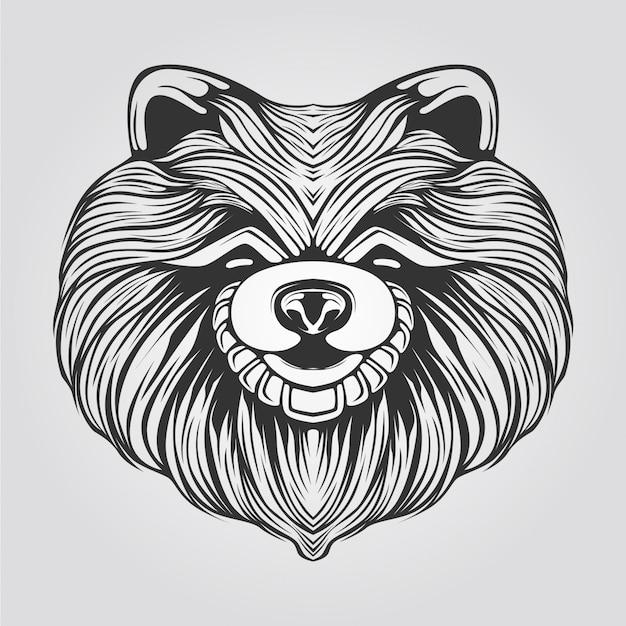 Linea in bianco e nero di cane cihuahua femmina