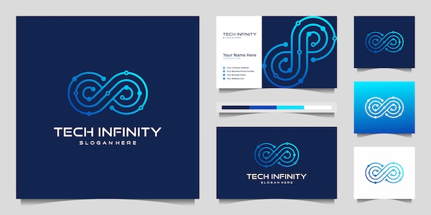 Linea infinity tech creativa. design moderno del logo infinity e biglietto da visita