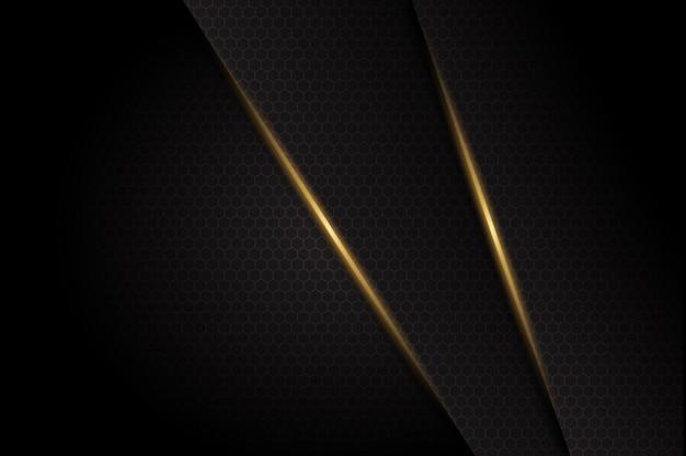 Linea leggera astratta dell'oro barra su fondo futuristico moderno di progettazione di spazio in bianco grigio scuro
