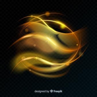 Linea luminosa a spirale incandescente dorata