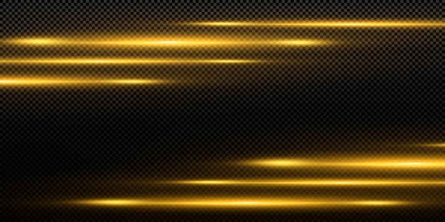 Linea luminosa con scintille su sfondo nero, effetto luce, colore dorato.