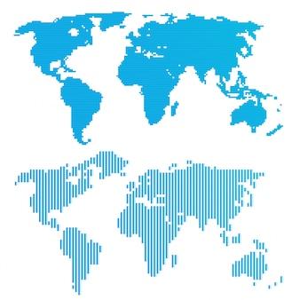 Linea mappa del mondo blu