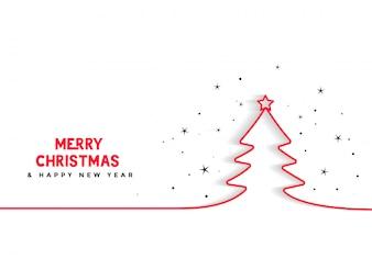 Linea minima sfondo albero di Natale