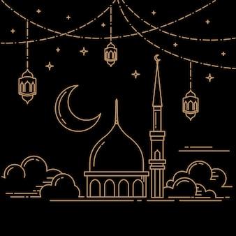 Linea mono concetto di design islamico celebrazione