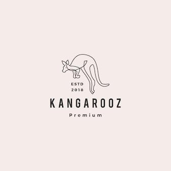 Linea monoline del profilo dell'illustrazione di vettore di logo di canguro monoline