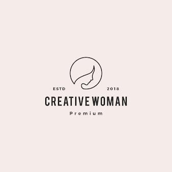 Linea monoline profilo dell'illustrazione dell'icona di vettore di logo della donna