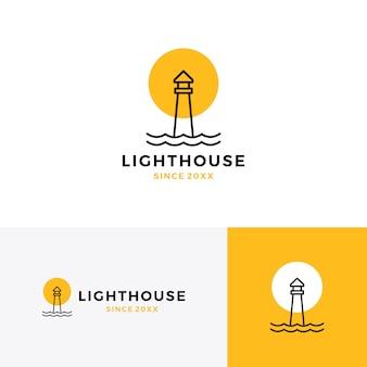 Linea monolinea del profilo dell'icona di vettore di logo del faro