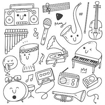 Linea musicale di doodle di strumenti musicali kawaii