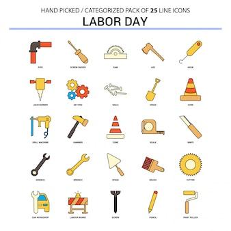 Linea piana icona di giorno di lavoro messa - progettazione delle icone di concetto di affari