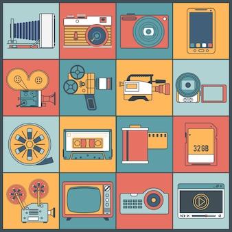 Linea piatta di icone di foto video