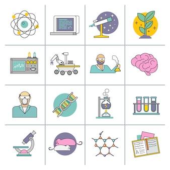 Linea piatta di scienza e ricerca