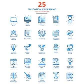 Linea piatta moderna icone di colore istruzione e apprendimento